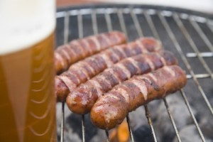 Tasty sausages with beer